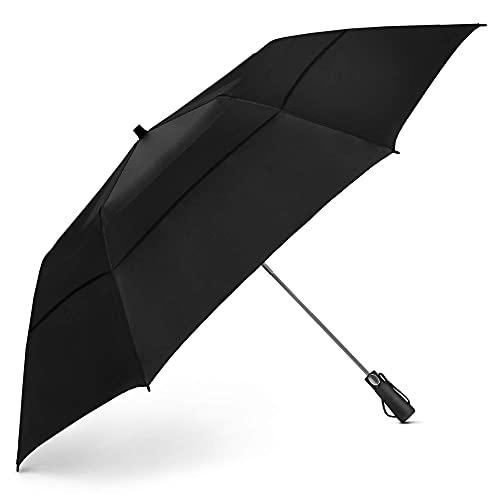 EEZ-Y Golf Umbrella - 58 Inch Windproof Rain Umbrellas w/Double Canopy - Compact, Portable & Break Resistant for Travel – Black