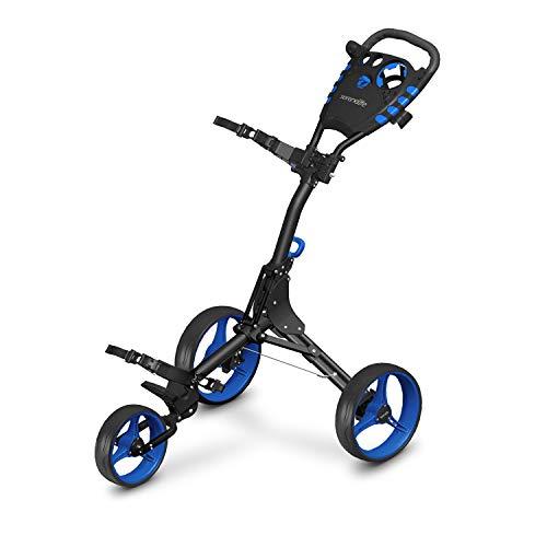 3 Wheel Golf Push Cart - Lightweight Folding Golf Walking Push Cart Roller Golf Bag Holder w/ Upper/Lower Bracket w/ Elastic Strap, Scorecard, Cup, & Bag Storage Holder - SereneLife SLG3W