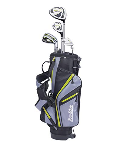 Tour Edge HL-J Junior Complete Golf Set with Bag (Right Hand, Graphite, 1 Putter, 2 Irons, 1 Hybrid, 1 Wood, 7-10 YRS) Green