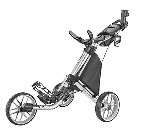 caddytek CaddyLite EZ Version 8 3 Wheel Golf Push Cart - Foldable Collapsible Lightweight Pushcart with Foot Brake - Easy to Open & Close, Silver, One Size (CaddyLite EZ Version 8 Silver)