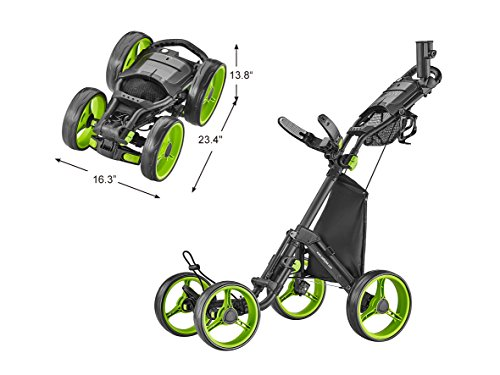 caddytek 4 Wheel Golf Push Cart - Compact, Lightweight, Close Folding Push Pull Caddy Cart Trolley - Explorer V8