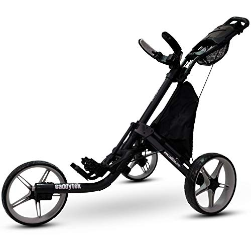 CaddyTek 3 Wheel Golf Push Cart - Foldable Collapsible Lightweight Pushcart with Foot Brake - Easy to Open & Close