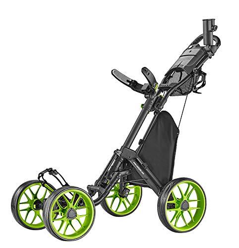 caddytek Caddycruiser One Version 8 - One-Click Folding 4 Wheel Golf Push Cart, Lime
