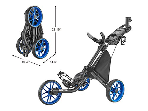caddytek CaddyLite EZ Version 8 3 Wheel Golf Push Cart - Foldable Collapsible Lightweight Pushcart with Foot Brake - Easy to Open & Close, blue, one size