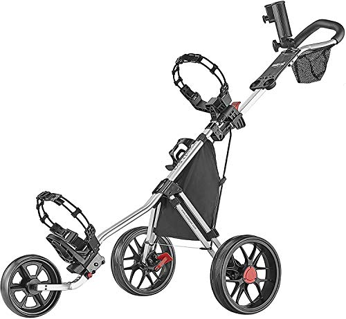 Caddytek CaddyLite 11.5 V3 3 Wheel Golf Push Cart - SuperLite Deluxe, Lightweight, Easy To Fold Caddy Cart Pushcart , Silver , 53.5 x 27 x 45'
