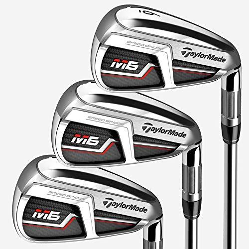 TaylorMade Golf M6 Iron Set, 4-PW, AW, Left Hand, Regular Flex Shaft: Fujikura Atmos Orange