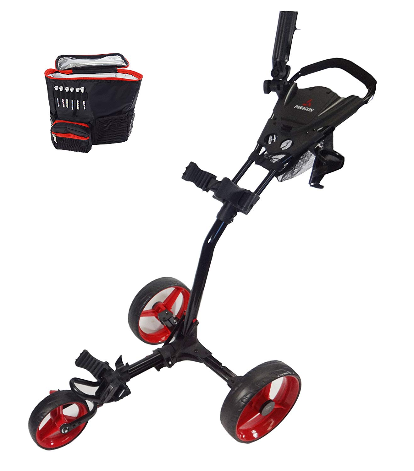 Paragon 3-wheelie Folding 3 Wheel Push - Pull Cart:Free Cooler Bag (Red:Black)